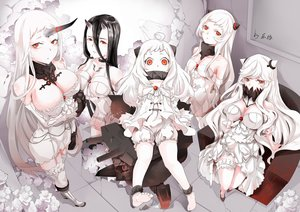 Rating: Safe Score: 126 Tags: airfield_hime anthropomorphism battleship_hime black_hair bloomers blush boots breasts choker cleavage dress flowers garter group horns kabaneneko kantai_collection loli midway_hime northern_ocean_hime orange_eyes polychromatic rose seaport_hime signed stockings thighhighs white_hair User: luckyluna