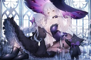 Rating: Safe Score: 94 Tags: 2girls bakaouzi999 blush breasts brown_eyes cleavage dress drink glasses goth-loli gray_hair hat illusion_connect leotard lolita_fashion long_hair pantyhose thighhighs wand witch witch_hat User: BattlequeenYume
