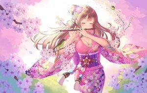 Rating: Safe Score: 68 Tags: animal bird blush breasts brown_hair cherry_blossoms cleavage flowers flute instrument japanese_clothes ken-san kimono long_hair original spring User: ssagwp