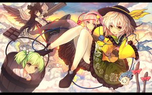 Rating: Safe Score: 95 Tags: black_hair bow chocolate clouds dress eva200499 food green_hair group hat headband kaenbyou_rin kisume komeiji_koishi komeiji_satori long_hair multiple_tails pink_eyes pink_hair reiuji_utsuho short_hair tail touhou twintails white_hair wings yellow_eyes User: RyuZU
