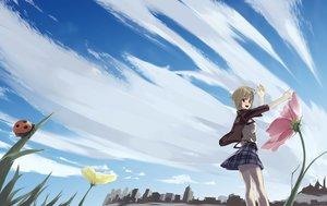 Rating: Safe Score: 24 Tags: animal blush brown_eyes brown_hair building city clouds flowers grass nishiizumi_tasuku original short_hair skirt sky User: RyuZU