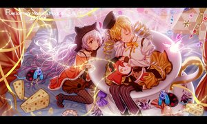Rating: Safe Score: 28 Tags: 2girls animal_ears blonde_hair blush bow cake food hat long_hair mahou_shoujo_madoka_magica majiang momoe_nagisa pink_hair tomoe_mami twintails User: RyuZU