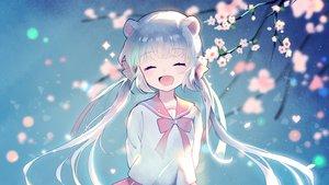 Rating: Safe Score: 51 Tags: animal_ears aqua_hair bow cherry_blossoms long_hair mechuragi original petals seifuku twintails User: RyuZU