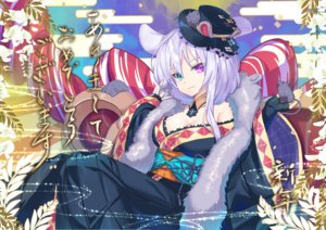 Rating: Safe Score: 42 Tags: animal animal_ears bicolored_eyes breasts cleavage hat japanese_clothes kimono mouse mousegirl nyori original User: BattlequeenYume