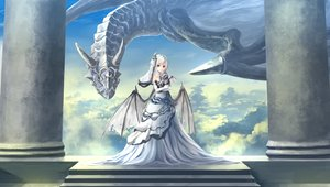 Rating: Safe Score: 150 Tags: clouds collar dragon dress kouji_(astral_reverie) original red_eyes sky stairs white_hair wings User: Flandre93