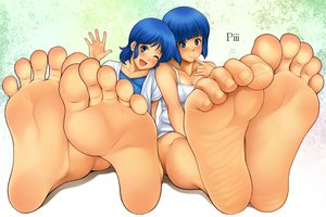 Rating: Safe Score: 14 Tags: barefoot blue_eyes blue_hair kasumi_(super_real_mahjong) miki_(super_real_mahjong) rg super_real_mahjong User: FormX