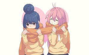 Rating: Safe Score: 46 Tags: 2girls blue_hair blush kagamihara_nadeshiko neps-l pink_hair purple_eyes scarf school_uniform shima_rin signed skirt tie waifu2x yuru_camp User: RyuZU