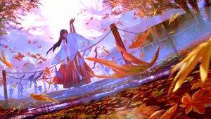 Rating: Safe Score: 87 Tags: autumn blue_hair goroku japanese_clothes landscape leaves long_hair miko orange_eyes original ponytail scenic signed User: BattlequeenYume