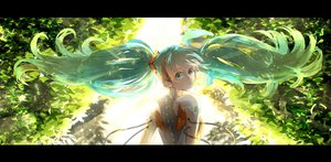 Rating: Safe Score: 86 Tags: 58_(scbaby) aqua_eyes aqua_hair hatsune_miku headphones leaves odds_&_ends_(vocaloid) twintails vocaloid User: FormX