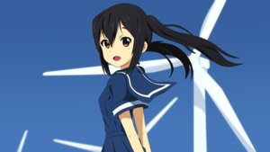 Rating: Safe Score: 34 Tags: black_hair brown_eyes fang k-on! long_hair nakano_azusa school_uniform servachok skirt sky twintails windmill User: RyuZU