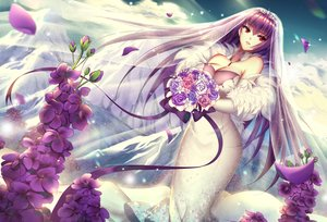 Rating: Safe Score: 30 Tags: breasts cleavage dress elbow_gloves fate/grand_order fate_(series) flowers gloves headdress long_hair meaomao petals purple_hair red_eyes ribbons scathach_(fate/grand_order) wedding_attire User: luckyluna