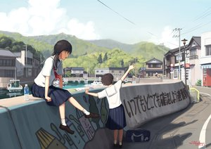 Rating: Safe Score: 60 Tags: boat building original scenic school_uniform signed tanenbo_(yakikoke) User: FormX