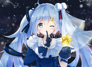 Rating: Safe Score: 82 Tags: blue_eyes blue_hair bow cropped gloves hatsune_miku headdress kyod+ long_hair necklace night ribbons stars twintails vocaloid wink User: luckyluna