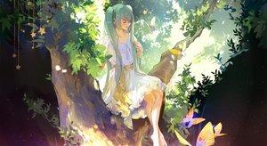 Rating: Safe Score: 37 Tags: aqua_hair barefoot butterfly dress hatsune_miku kirayoci long_hair stars tree twintails vocaloid User: RyuZU