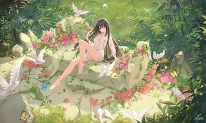 Rating: Safe Score: 141 Tags: animal atdan barefoot bird breasts brown_eyes brown_hair butterfly cleavage flowers forest grass long_hair naked_shirt original shirt signed tree User: luckyluna