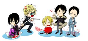 Rating: Safe Score: 15 Tags: chibi durarara!! glasses heiwajima_kasuka heiwajima_shizuo kida_masaomi long_hair male orihara_izaya ryuugamine_mikado short_hair weapon white User: Katsumi