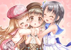 Rating: Safe Score: 30 Tags: aliasing black_hair blonde_hair blush bow brown_eyes brown_hair gradient hat hug ichihara_nina idolmaster idolmaster_cinderella_girls idolmaster_cinderella_girls_starlight_stage loli lolita_fashion long_hair otokura_yuuki petals regular_mow school_uniform short_hair skirt wristwear yorita_yoshino User: otaku_emmy