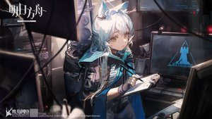 Rating: Safe Score: 63 Tags: animal_ears arknights cape ciloranko computer gloves green_eyes hoodie logo long_hair rosmontis_(arknights) white_hair User: Nepcoheart