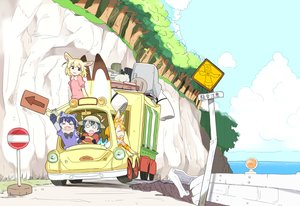 Rating: Safe Score: 26 Tags: animal_ears anthropomorphism black_hair blonde_hair car catgirl clouds common_raccoon_(kemono_friends) elbow_gloves fennec_(kemono_friends) foxgirl gloves hat kaban kemono_friends lucky_beast_(kemono_friends) orange_hair serval short_hair sky tagme_(artist) tree water User: otaku_emmy