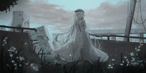 Rating: Safe Score: 107 Tags: ai_(chihuri) building chihuri405 city clouds dark dress flowers headdress long_hair original ruins sky white_hair User: BattlequeenYume