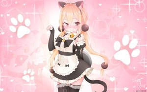 Rating: Safe Score: 57 Tags: animal_ears apron bell blonde_hair blush catgirl headdress long_hair maid pink red_eyes signed sunkazer tail thighhighs twintails waitress watermark xiaoyuan you_can_eat_the_girl zoom_layer User: otaku_emmy