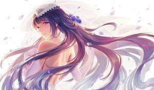 Rating: Safe Score: 75 Tags: aqua_eyes blush close elbow_gloves flowers gloves honkai_impact long_hair purple_hair raiden_mei rose ulquiorra0 wedding_attire User: BattlequeenYume