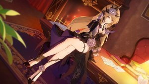 Rating: Safe Score: 73 Tags: 1065587906 book brown_hair dress elbow_gloves gloves honkai_impact long_hair paper purple_eyes rita_rossweisse User: BattlequeenYume