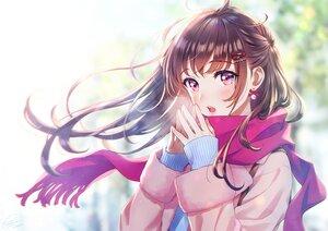 Rating: Safe Score: 57 Tags: blush brown_hair close long_hair morikura_en original purple_eyes scarf signed User: BattlequeenYume