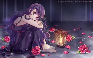 Rating: Safe Score: 25 Tags: barefoot dress flowers long_hair original purple_hair red_eyes rose water watermark zenyu User: BattlequeenYume