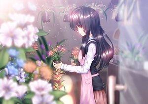 Rating: Safe Score: 97 Tags: amemaku apron black_hair flowers long_hair original red_eyes school_uniform skirt User: Flandre93