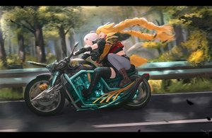 Rating: Safe Score: 43 Tags: 2girls animal_ears blonde_hair boots braids ex-trident feathers forest gloves hug long_hair motorcycle original thighhighs tree twintails white_hair zettai_ryouiki User: otaku_emmy