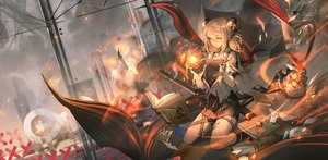 Rating: Safe Score: 62 Tags: arknights blonde_hair book building city cropped fire gun ifrit_(arknights) luciana1 magic skirt twintails weapon User: BattlequeenYume