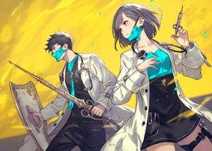 Rating: Safe Score: 61 Tags: gray_hair kusano_shinta male mask original red_eyes short_hair skirt spear weapon yellow User: Fepple