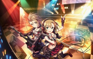 Rating: Safe Score: 27 Tags: 2girls annin_doufu breasts brown_hair garter_belt green_eyes guitar headphones idolmaster idolmaster_cinderella_girls idolmaster_cinderella_girls_starlight_stage instrument kimura_natsuki microphone navel short_hair skirt tada_riina thighhighs User: RyuZU