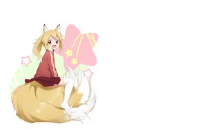 Rating: Safe Score: 56 Tags: animal_ears blonde_hair fang foxgirl multiple_tails naraba_yueni orange_eyes original short_hair tail thighhighs white User: SciFi