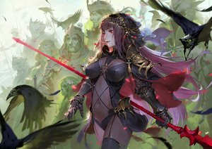 Rating: Safe Score: 132 Tags: animal armor bird bodysuit breasts fate/grand_order fate_(series) gloves headdress long_hair male navel purple_hair qmo_(chalsoma) red_eyes scathach_(fate/grand_order) skintight spear weapon User: luckyluna