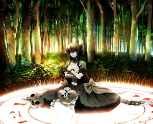 Rating: Safe Score: 77 Tags: bow brown_hair chain choker dress forest fuuna_(conclusion) gothic gray_eyes long_hair magic original skull tree User: FormX