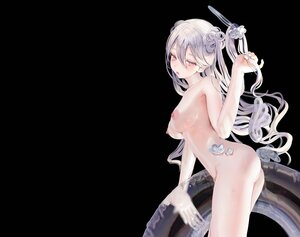 Rating: Questionable Score: 161 Tags: ass black breasts gray_hair halo long_hair nipples nude opopowa original polychromatic purple_eyes swim_ring wings User: BattlequeenYume