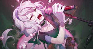 Rating: Safe Score: 38 Tags: breasts cheese_kang cleavage cropped gloves guitar headband instrument konno_junko microphone white_hair zombie_land_saga User: SnekNOTSnake