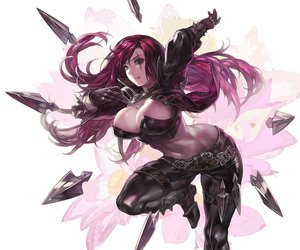 Rating: Safe Score: 380 Tags: aoin_(omegaboost) cleavage flowers katarina league_of_legends navel red_hair scar weapon User: opai