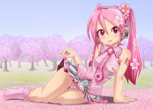 Rating: Questionable Score: 113 Tags: blush flowers hatsune_miku headphones kazu-chan long_hair panties pink_eyes pink_hair sakura_miku skirt_lift socks tie twintails underwear vocaloid User: gnarf1975