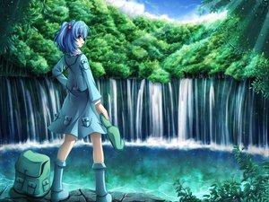 Rating: Safe Score: 48 Tags: akashio_(loli_ace) blue_eyes blue_hair blush dress hat kawashiro_nitori landscape scenic touhou water waterfall User: Tensa