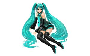 Rating: Safe Score: 66 Tags: aqua_eyes aqua_hair fayse hatsune_miku long_hair thighhighs tie twintails vocaloid white User: gnarf1975