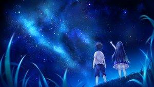 Rating: Safe Score: 78 Tags: game_cg grass hoshi_no_ne_sanctuary marmalade naruse_hirofumi night sky stars tagme_(character) User: szolar