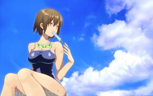 Rating: Safe Score: 49 Tags: brown_hair clouds food goggles original popsicle school_swimsuit short_hair sky swimsuit tagme_(artist) wet yellow_eyes User: BattlequeenYume