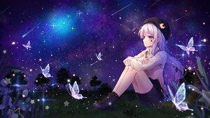 Rating: Safe Score: 50 Tags: butterfly grass gray_hair hat hayun long_hair night purple_eyes skirt sky stars tattoo tree User: BattlequeenYume