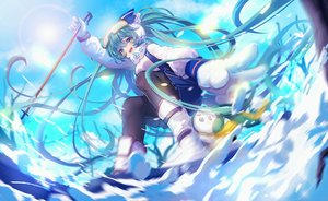 Rating: Safe Score: 88 Tags: animal boots gloves goggles hatsune_miku long_hair miemia rabbit skirt snow twintails vocaloid yuki_miku yukine_(vocaloid) User: Flandre93