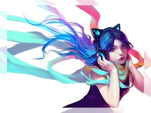 Rating: Safe Score: 94 Tags: animal_ears aqua_hair catgirl headphones long_hair original scarf third-party_edit wenqing_yan_(yuumei_art) User: SciFi