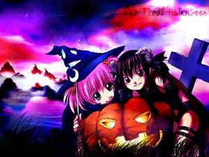 Rating: Safe Score: 11 Tags: askray demon halloween moe_(bosshi) pumpkin witch yu_(bosshi) User: Oyashiro-sama