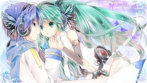 Rating: Safe Score: 54 Tags: hatsune_miku headphones kaito magnet_(vocaloid) miku_append vocaloid User: HawthorneKitty